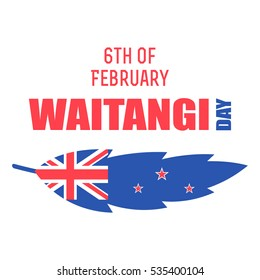 Vector illustration of British flag with lettering that is related to New Zealand Waitangi Day on white background. New Zealand Waitangi Day on the 6th of February.