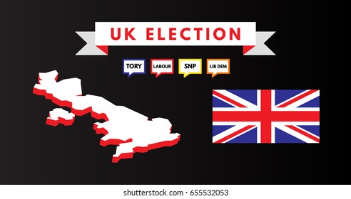 Vector illustration of British map, national flag, and speech bubble sign saying tory, labour, SNP and Lib Dem political party and English voter. Graphic element for United Kingdom general election.