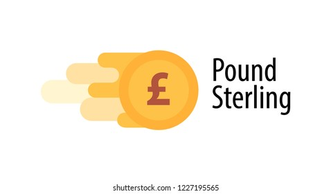 Vector Illustration of British Pound Coin with caption isolated on white background.