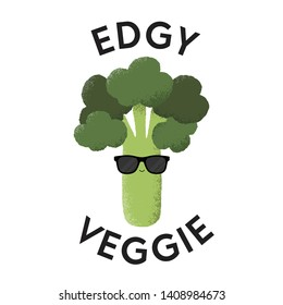 Vector illustration of a Broccoli character wearing sunglasses with the funny pun 'Edgy Veggie'. Cheeky T-Shirt design concept.