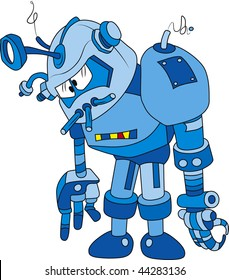 Vector illustration of broken blue brass robot character
