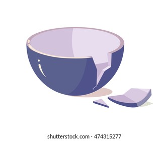 vector illustration of Broken Bowl isolate on White Background. Cartoon style
