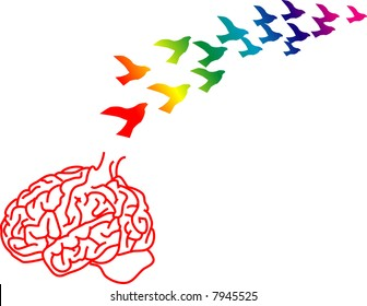 vector illustration for a broken brain cage and ideas just like birds flying away, brain drain, metaphors