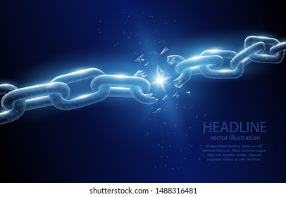 Vector illustration of a broken chain concept on a deep blue background: the end of a chain of events, partnerships, friendship, or relationships, the end of the old, liberation, from shackles.