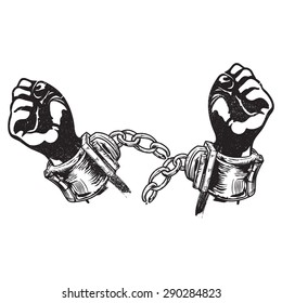 A vector illustration of broken handcuffs for freedom. Freedom. Freed from restrain or capture