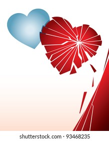 Vector illustration with a broken heart. Can be easily colored and used in your design.