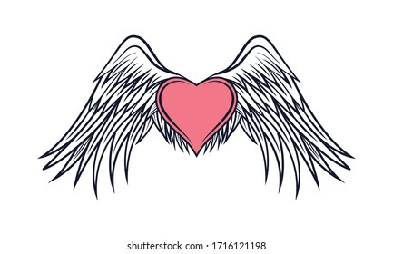 Vector illustration of a broken heart and wings