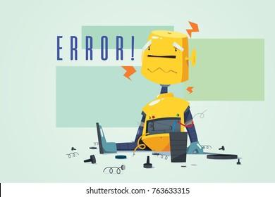A vector illustration of Broken Robot Showing Error Concept