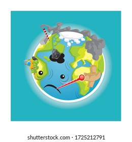 vector illustration of an broken and sicked earth