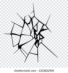 Vector Illustration of Broken Surface. Crack Silhouette.