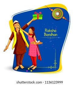 vector illustration of Brother and sister tying decorated Rakhi for Indian festival Raksha Bandhan