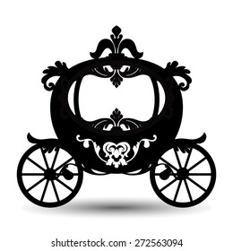 Vector illustration of brougham in baroque style. Vintage carriage isolated on white background