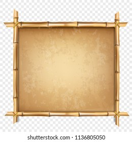 Vector illustration of brown bamboo stick border isolated on transparent background. Art design blank mockup template. Rope, paper, canvas. Abstract concept tropical signboard. Empty place for text