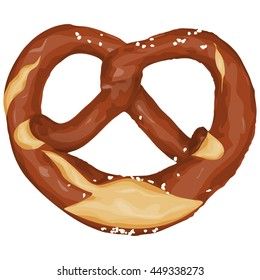vector illustration of an brown bavarian pretzel isolated on white background