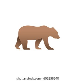 Vector illustration of brown bear. Isolated on white background. Icon logo bear side view, profile.