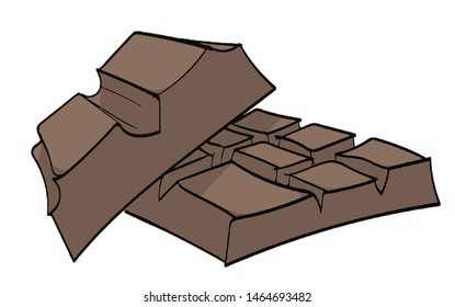 Vector illustration with brown chocolate on white background