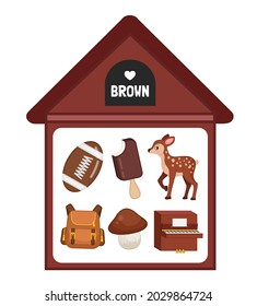 Vector illustration of a brown house . Learning colors for children. The image of objects in brown color - a ball, ice cream, deer, backpack, mushroom, piano.