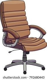 Vector illustration of a brown leather office chair, Swivel chair, revolving chair.
