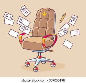 Vector illustration of brown office armchair of the boss with many documents on light background. Hand draw line art design for web, site, advertising, banner, poster, board and print.