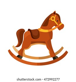 vector illustration of brown rocking horse for kids. Picture isolate on white background