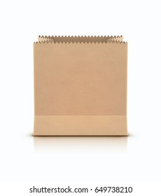 Vector illustration of brown shopping paper bag isolated on white background