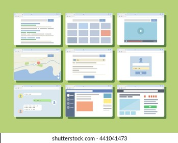 Vector illustration of browser;login, sns, shopping, web, search image, appliciation, ui, ux