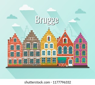 Vector illustration of Bruges. Old european city.