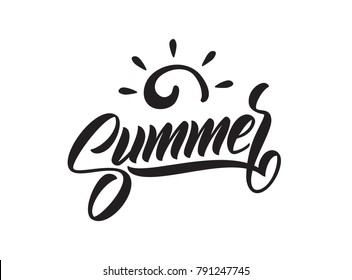 Vector illustration: Brush lettering composition of Summer Vacation with doodle sun on white background. Typography design.
