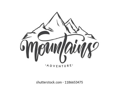 Vector illustration: Brush lettering compositionof Mountains Adventure with Hand drawn Peaks of Mountains sketch