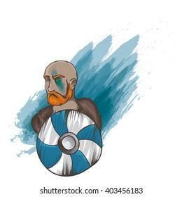 Vector illustration with brutal man.  Sea-king portrait. Viking brave man. Varangian with red beard. Brave man with shield. Man with mantelet on white background.