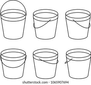 A Vector Illustration of a Bucket at Different Angles of View