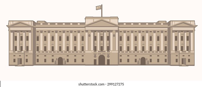 Vector Illustration of the Buckingham Palace in London