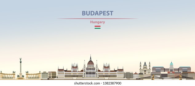 Vector illustration of Budapest city skyline on colorful gradient beautiful daytime background