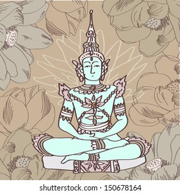 Vector illustration of buddha with lotus in brown