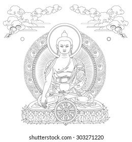 Vector illustration with Buddha in meditation clouds and Wheel of Dharma. Gautama Buddha. Black and white design.