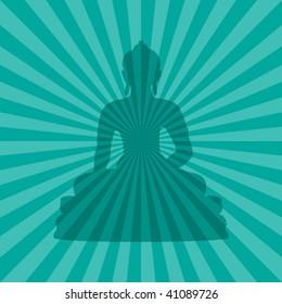 vector illustration of buddha silhouette on teal burst background