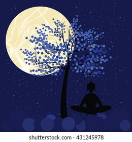 vector illustration / buddhists full moon day / meditating person silhouette on the night sky background