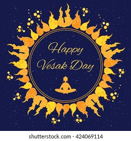 vector illustration / buddhists holiday of Vesak greeting / fire circle and Buddha silhouette