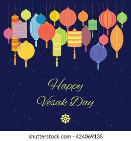 vector illustration / buddhists holiday of Vesak greeting / colorful lanterns decoration
