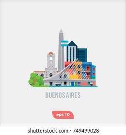 Vector Illustration of Buenos Aires landmarks, flat and modern icon set for travel companies