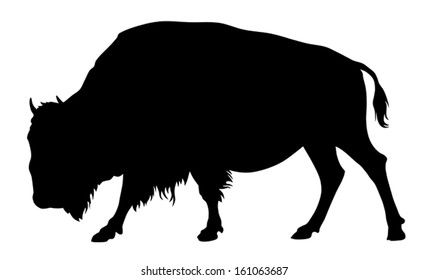 Vector illustration of buffalo silhouette