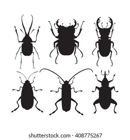 Vector illustration of bugs. Isolated on a white background. Beetle flat icons. Insect silhouette set.