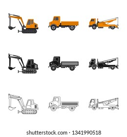 Vector illustration of build and construction icon. Set of build and machinery stock vector illustration.