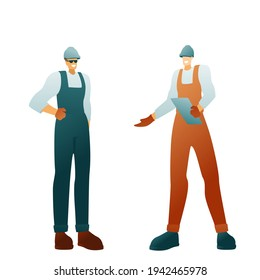 Vector illustration of a builders with a clipboard on a white background. Characters in helmets, men workers in uniforms. Modern flat design advertising a construction company.