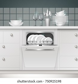 Vector illustration of build-in dishwasher with opened door and clean utensils in a kitchen