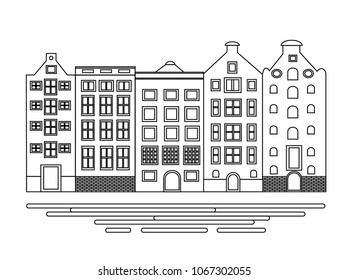 Vector Illustration of building Amsterdam. Line town