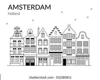 Vector Illustration of building Amsterdam outline for Design, Website, Background, Banner, Card. Travel Holland Landmark silhouette Element Template for Tourism Flier.
