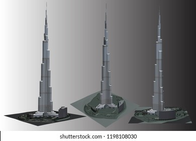 Vector illustration, building burj-khalifa 3D