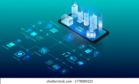Vector illustration of a building with elements of a smart home system. Science, futuristic, web, network concept, communications, high technology. EPS 10.