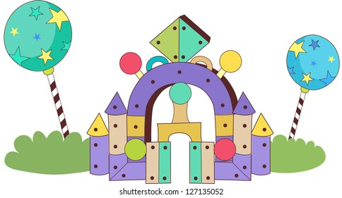 A vector illustration of a building made with blocks